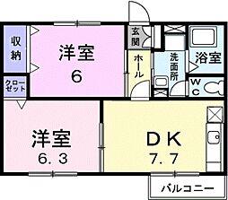 愛知県蒲郡市清田町下大内の賃貸アパートの間取り