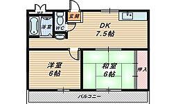 大阪府堺市堺区遠里小野町1丁の賃貸マンションの間取り