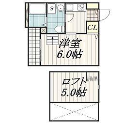 千葉県千葉市中央区登戸4丁目の賃貸アパートの間取り