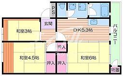 大阪府箕面市粟生間谷西2丁目の賃貸マンションの間取り