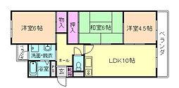 上野西ヒルサイドハイツ 2階3LDKの間取り