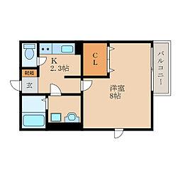 滋賀県東近江市林町の賃貸アパートの間取り