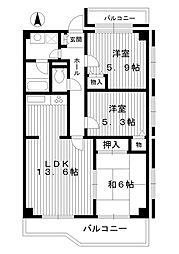 東京都練馬区高松3丁目の賃貸マンションの間取り