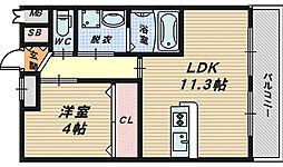 大阪府和泉市井ノ口町の賃貸アパートの間取り