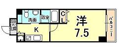 Groove Mukogawa(グルーヴ 武庫川) 4階1Kの間取り