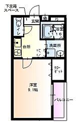 JR阪和線 鳳駅 徒歩8分の賃貸アパート 3階1Kの間取り