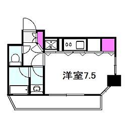 アクティコートクリスタル京橋 3階1Kの間取り