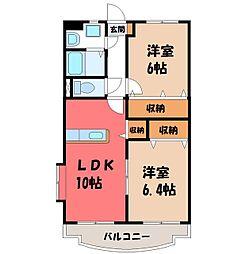 栃木県栃木市野中町の賃貸マンションの間取り
