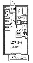東武越生線 東毛呂駅 徒歩3分の賃貸アパート 2階1Kの間取り