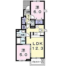 愛知県豊橋市横須賀町植松の賃貸アパートの間取り