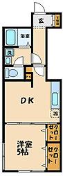 小田急小田原線 経堂駅 徒歩10分の賃貸アパート 1階1DKの間取り