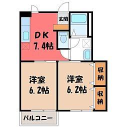 栃木県下野市緑6丁目の賃貸アパートの間取り