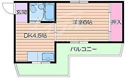 大阪府吹田市千里山高塚の賃貸マンションの間取り