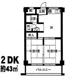 サンハイツ大和(東大阪)[4階]の間取り