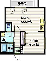 東急池上線 洗足池駅 徒歩7分の賃貸マンション 1階1LDKの間取り