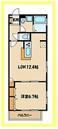 La Fraise(ラ・フレーズ) 2階1LDKの間取り