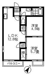 埼玉県北本市西高尾6丁目の賃貸アパートの間取り