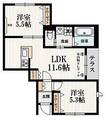 小田急小田原線 成城学園前駅 徒歩22分の賃貸マンション 1階2LDKの間取り