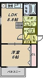 ラ・ラ・フィオーレ堺東[3階]の間取り