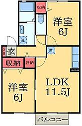 千葉県千葉市緑区古市場町の賃貸アパートの間取り