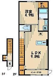 ラメルヴェーユ 2階1LDKの間取り