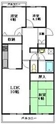 東武野田線 大和田駅 徒歩3分の賃貸マンション 3階3LDKの間取り