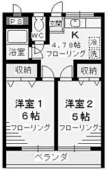 神奈川県川崎市多摩区中野島1丁目の賃貸マンションの間取り