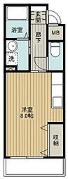 小田急小田原線 玉川学園前駅 徒歩5分の賃貸マンション 3階ワンルームの間取り