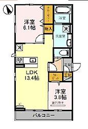 JR阪和線 百舌鳥駅 徒歩17分の賃貸アパート 2階2LDKの間取り