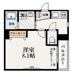都営三田線 白山駅 徒歩5分の賃貸マンション 2階1Kの間取り