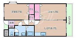 JR東海道・山陽本線 吹田駅 徒歩12分の賃貸マンション 3階2LDKの間取り