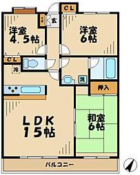 東京都八王子市下柚木2丁目の賃貸マンションの間取り