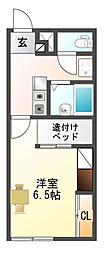 愛知県豊川市牛久保町城下の賃貸アパートの間取り