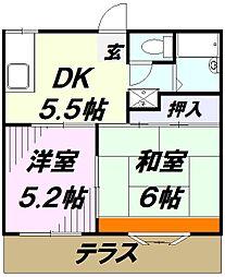 埼玉県入間市大字上藤沢の賃貸アパートの間取り