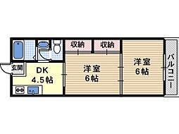 大阪府大阪市住吉区苅田5丁目の賃貸マンションの間取り