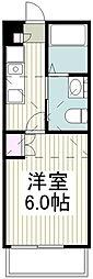 相鉄本線 西谷駅 徒歩20分の賃貸アパート 2階1Kの間取り