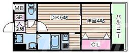 W.O.B京橋 5階1DKの間取り