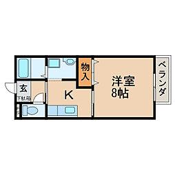 滋賀県大津市本堅田5丁目の賃貸アパートの間取り