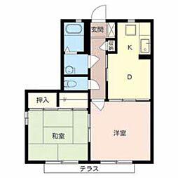南海高野線 萩原天神駅 徒歩22分の賃貸アパート 2階2DKの間取り