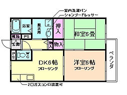 大阪府豊中市螢池中町2丁目の賃貸アパートの間取り