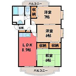 栃木県栃木市薗部町2丁目の賃貸マンションの間取り