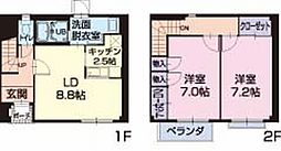 愛知県岡崎市東大友町字足鹿の賃貸アパートの間取り