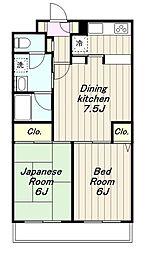 神奈川県大和市南林間7丁目の賃貸マンションの間取り