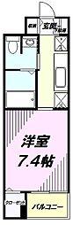JR中央線 八王子駅 徒歩16分の賃貸マンション 2階1Kの間取り
