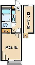 JR高崎線 鴻巣駅 徒歩2分の賃貸アパート 2階1Kの間取り