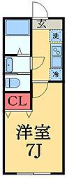 東葉高速鉄道 八千代中央駅 徒歩10分の賃貸アパート 1階1Kの間取り