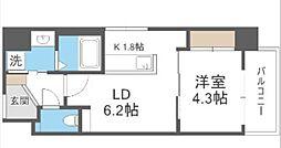 西鉄貝塚線 西鉄香椎駅 徒歩4分の賃貸マンション 4階1LDKの間取り