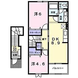 新潟県見附市今町5丁目の賃貸アパートの間取り