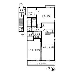 ローズコート・H B棟[2階]の間取り