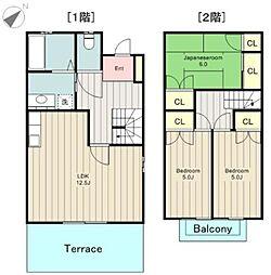 [テラスハウス] 東京都日野市南平9丁目 の賃貸【東京都 / 日野市】の間取り